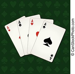 Poker Of Aces - Poker of aces on a green seamless casino...