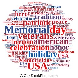 Memorial day. - Illustration with word cloud about Memorial...