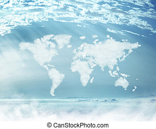 Conceptual picture of dense clouds in the worldwide shape -...
