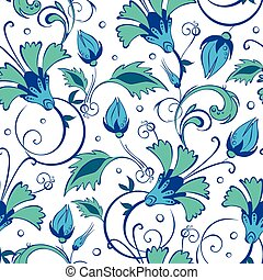 vector blue green swirly flowers seamless pattern background