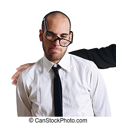Sad businessman comforted - Sad businessman comforted by a...