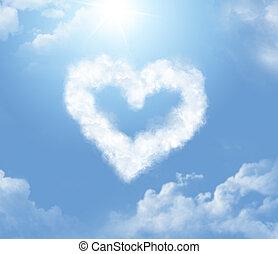 Cloudlet, en, el, forma, de, Un, corazón,