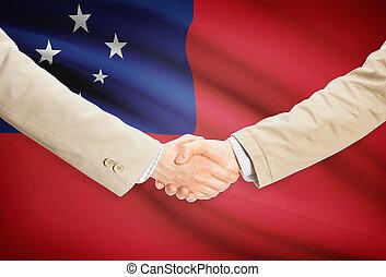 stretta mano,  Samoa,  -, bandiera, Uomini affari, fondo