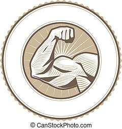 Bicep Flex Label - Seal emblem design with a muscular arm...