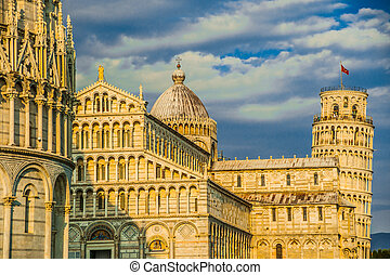 Leaning tower, Baptistery and Duomo, Piazza dei miracoli,...