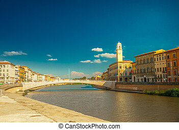 View of old street and river Arno in Pisa city, Italy -...