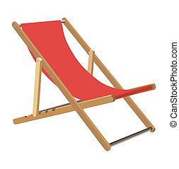 Lounger - Wooden chaise lounge on a white background