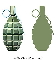 Grenade - Hand grenade with the key on a white background