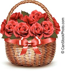 Holiday Background With Basket Full Of Red Roses. Vector.