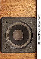 loudspeaker - detail of a wooden loudspeaker