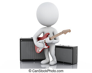 3d white people playing electric guitar - 3d image. White...