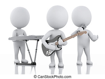 3d white people. Music group on white background - 3d...