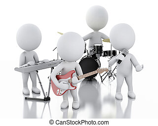 3d white people Music group on white background - 3d...