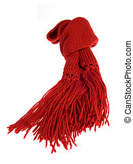 Red scarf - A red scarf of wool isolated over white...