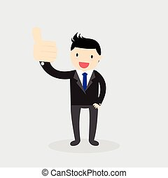 Like hand sign Concept - Businessman showing big thumb up....