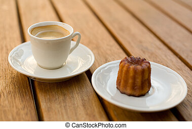 Cup of coffee and tasty dessert