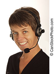 women with headset - cute young women with headset smilling