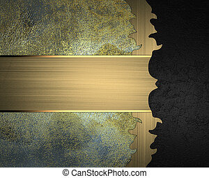 Grunge metal background with black edge with gold ribbon...