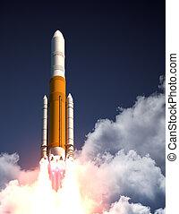 Heavy Carrier Rocket Take Off. 3D Scene.