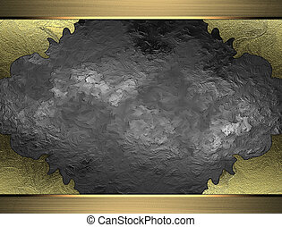 Metal texture with torn edges and gold frame. Design template. Design site