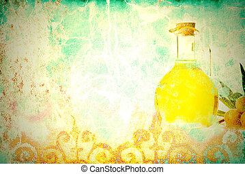 Olive oil antique background - Olive oil, colorful grunge...