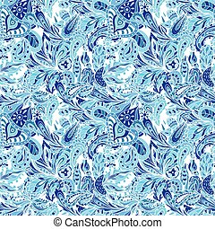 Blue Vector Creative Pattern - Ethnic indian eastern textile...