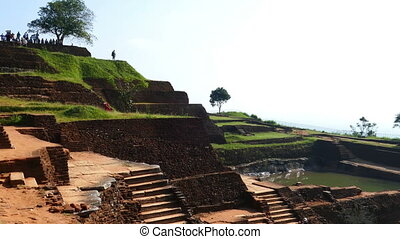 Ruins of fortress on top of Sigiriya Lion Rock, Sri Lanka