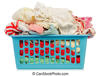 Dirty Clothes in basket on white background