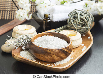 Spa Sea Salt setting with Lavender, Aromatherapy Candles and...