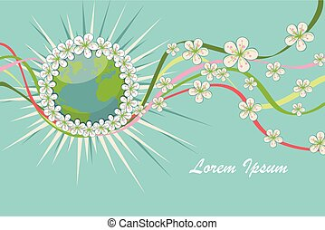 Planet earth with spring flowers,curly ribbons.eps
