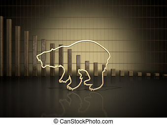 Bear Market Trend - An abstract closeup of a gold outline...