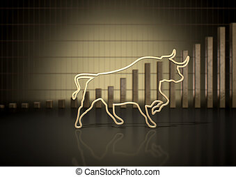 Bull Market Trend - An abstract closeup of a gold outline...