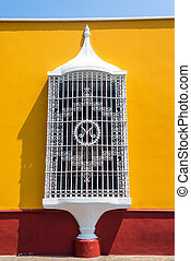 Colonial Architecture in Trujillo, Peru - Yellow and red...