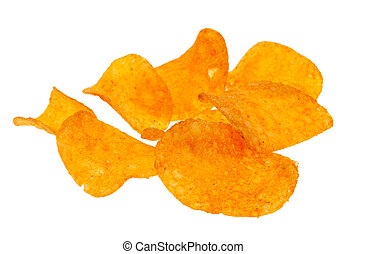 paprika chips isolated on a white background