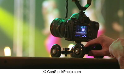 Shooting concert - Photo camera shoots video of childrens...