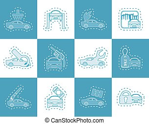 car and automobile service icons