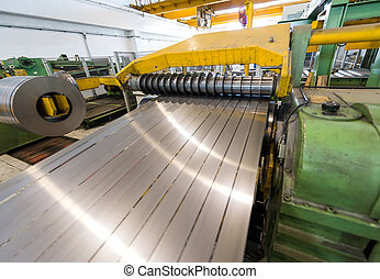 Machine for cutting steel coils