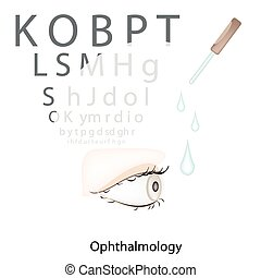 Eye Examination with Vision Test Chart on White Background -...