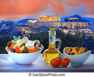 Acropolis with Greek salad in Athens, Greece - Famous...