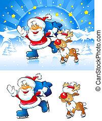 Skating  Santa with reindeer