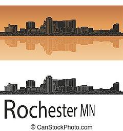 Rochester MN skyline - Rochester skyline in orange...