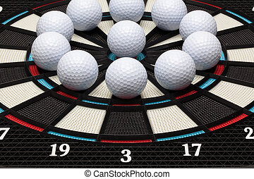 Detail dartboard with golf balls