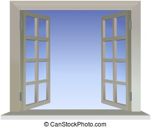 Opened divided window with blue sky background