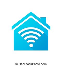 Blue house icon with a radio signal