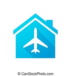Blue house icon with a plane