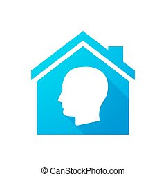 Blue house icon with a male head