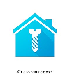 Blue house icon with a screw