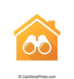 Orange house icon with a binoculars - Illustration of an...