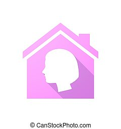 Pink house icon with a woman head