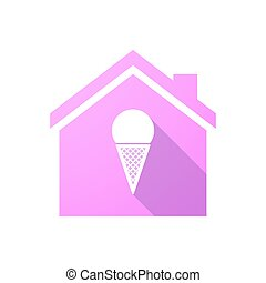 Pink house icon with a cone ice cream - Illustration of a...